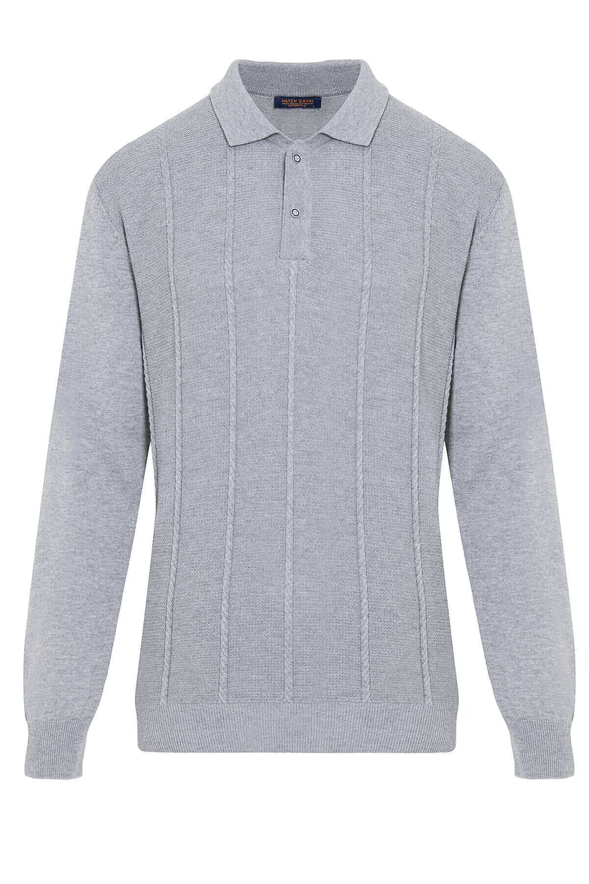 - Grey Polo Neck Buttoned Sweater