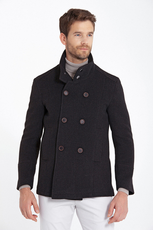 Brown Double Breasted Wool Blended Coat - Thumbnail