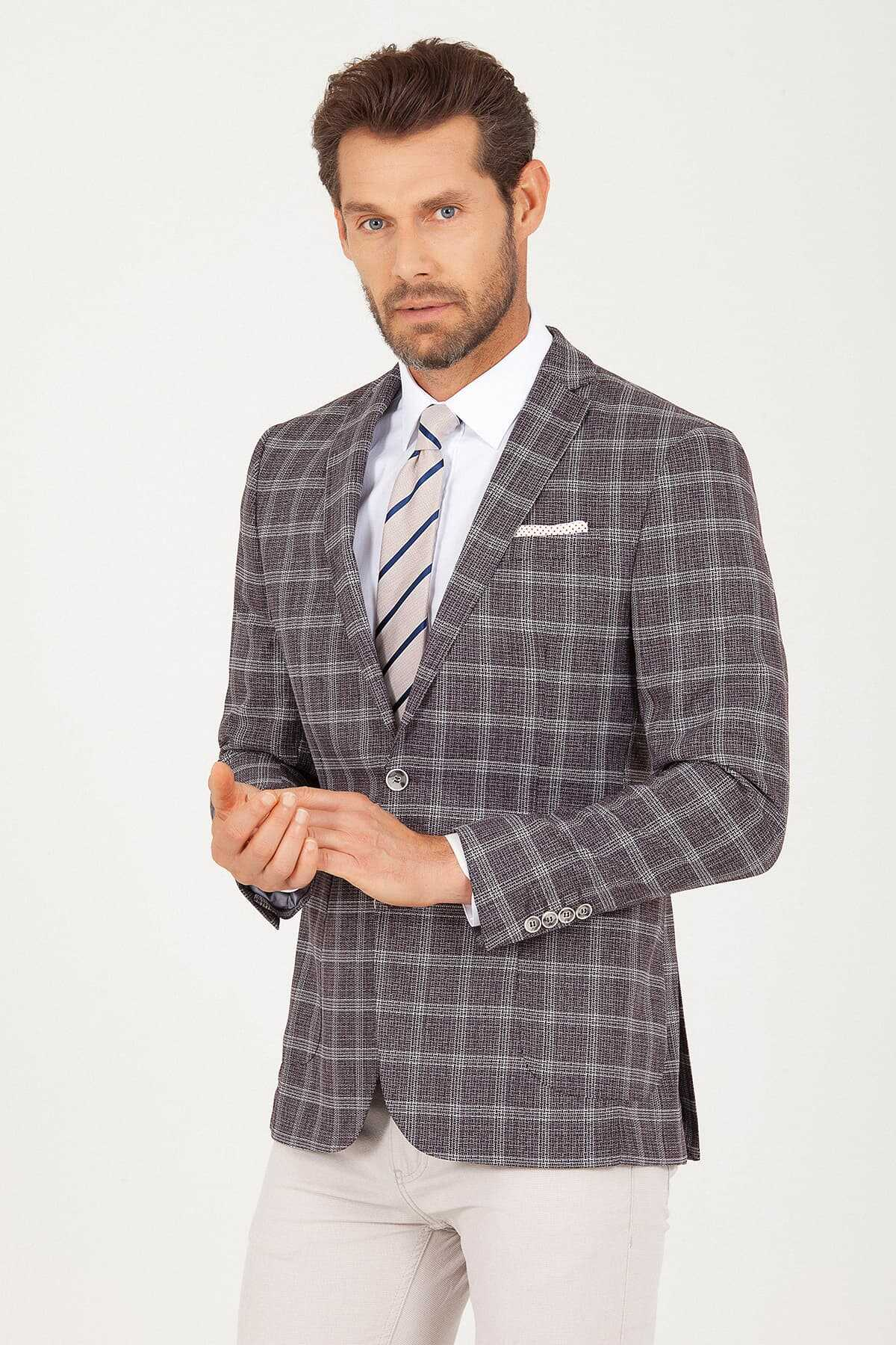 Hatemoğlu - Brown Slim Fit Checkered Blazer