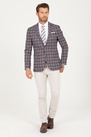 Brown Slim Fit Checkered Blazer - Thumbnail