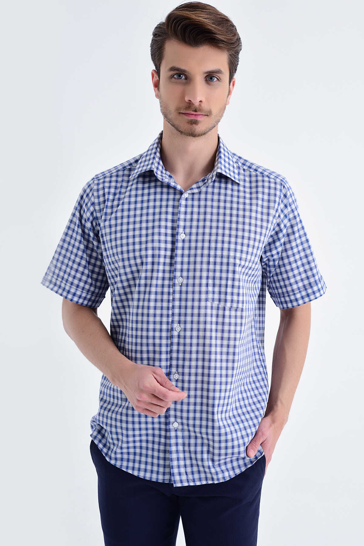 Hatemoğlu - Plaid Grey Short Sleeve Shirt