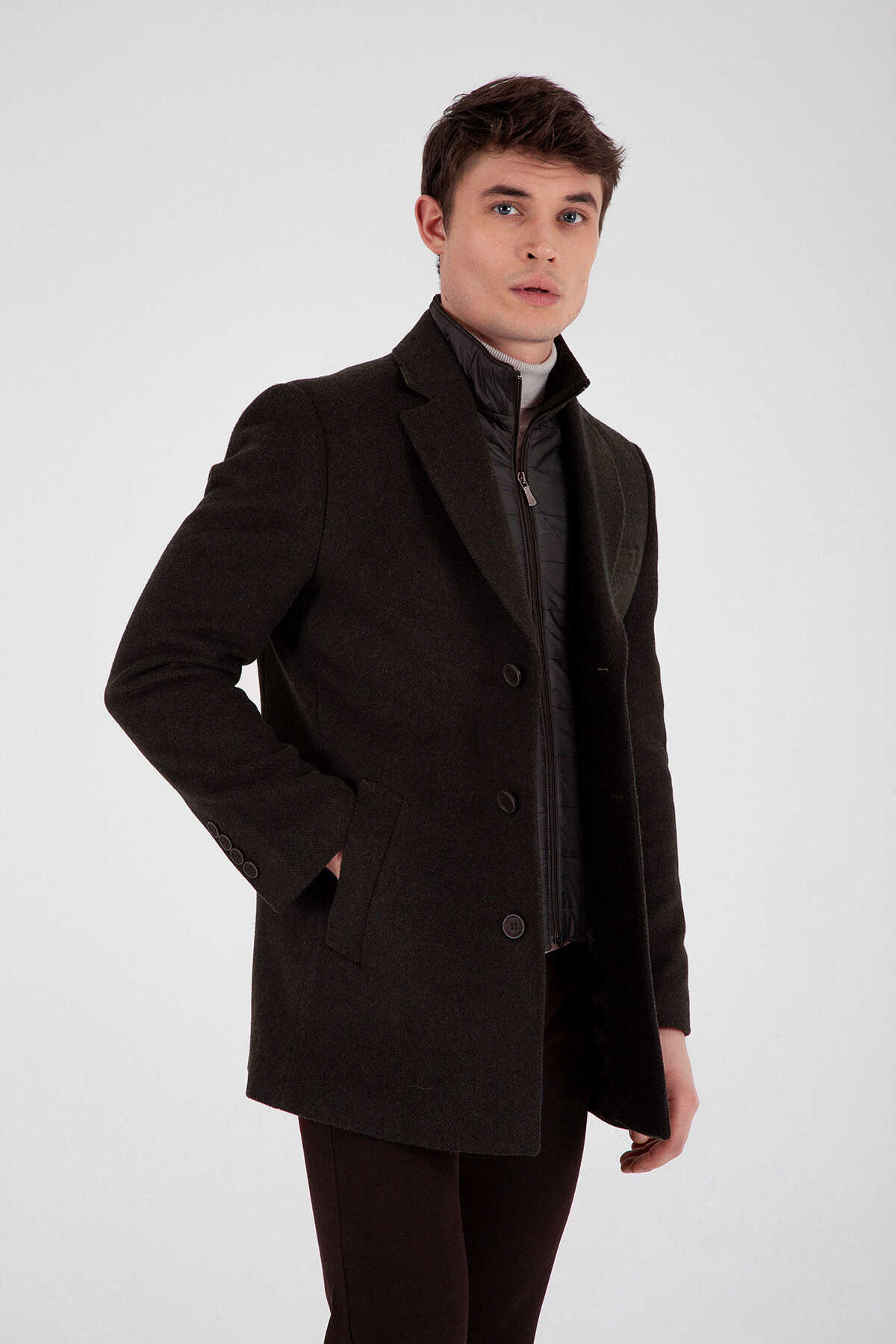- Brown Patterned Slim Fit Coat