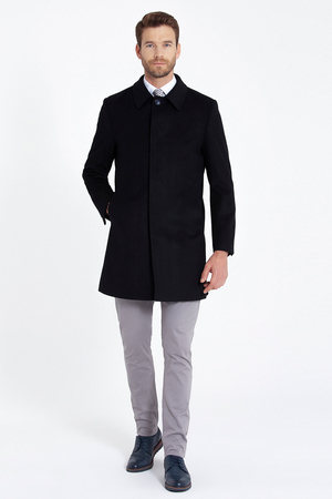 Navy Wool Coat - Thumbnail