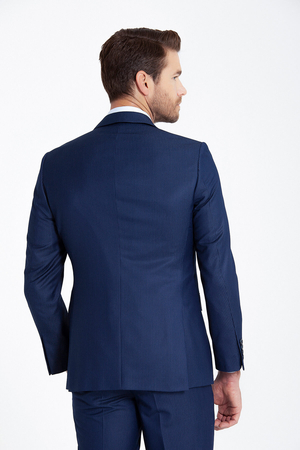 Navy Striped Slim Fit Suit - Thumbnail