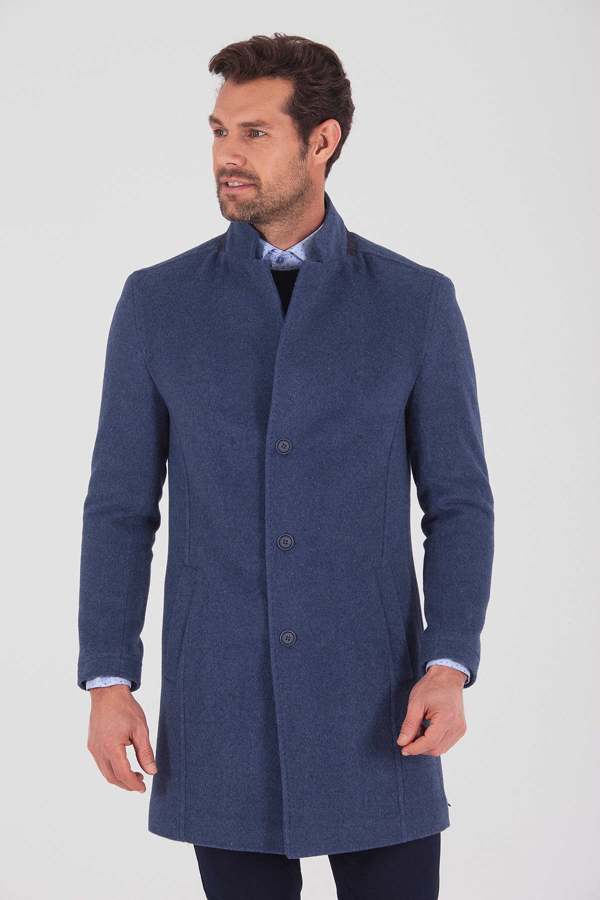 HTML - Navy Wool Coat