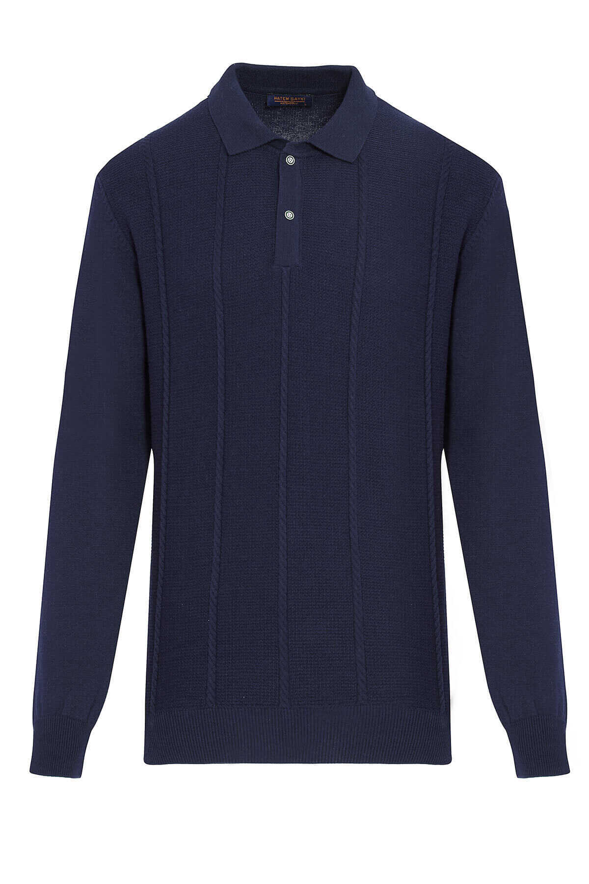 - Navy Polo Neck Buttoned Sweater