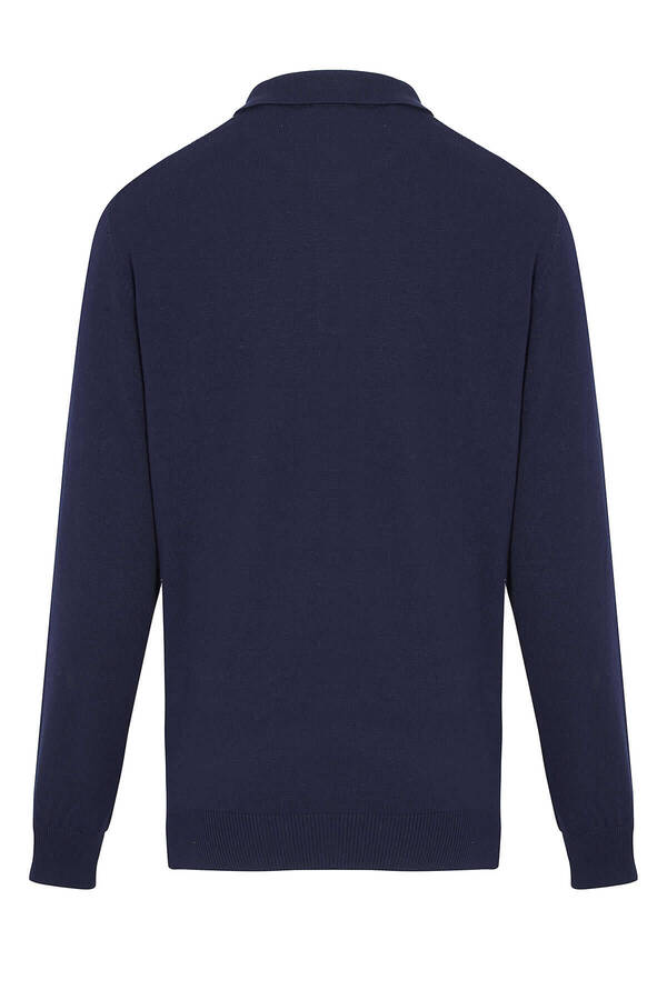 Navy Polo Neck Buttoned Sweater
