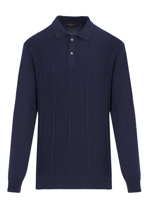 Navy Polo Neck Buttoned Sweater - Thumbnail