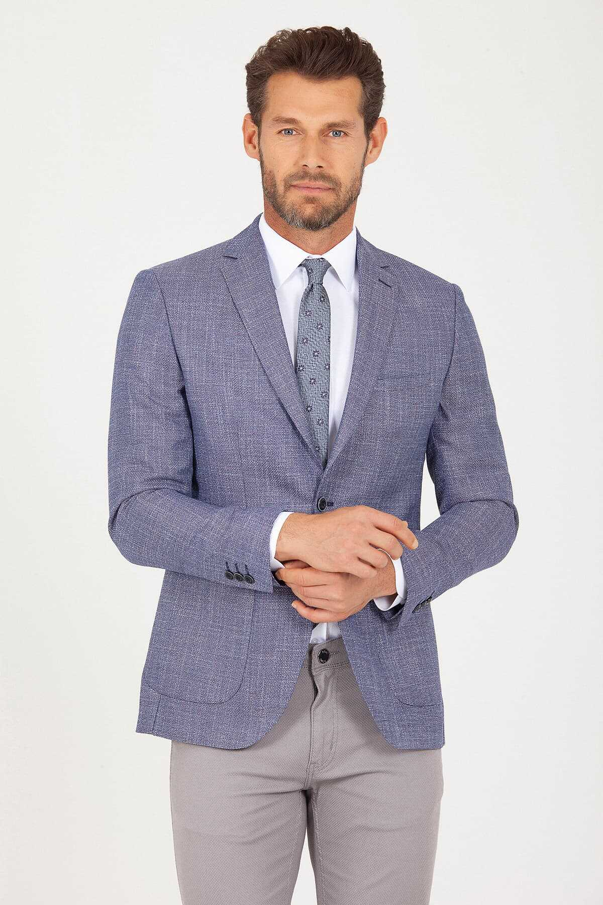 HTML - Blue Slim Fit Patterned Linen Blazer