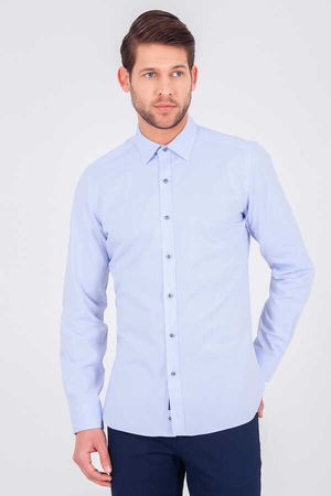 Blue Slim Fit Plain Shirt - Thumbnail