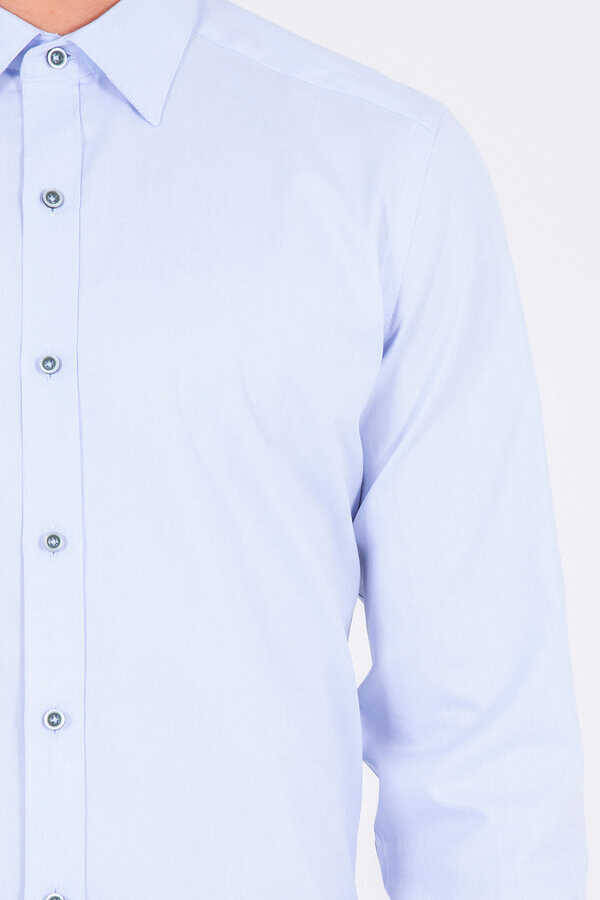 Blue Slim Fit Plain Shirt