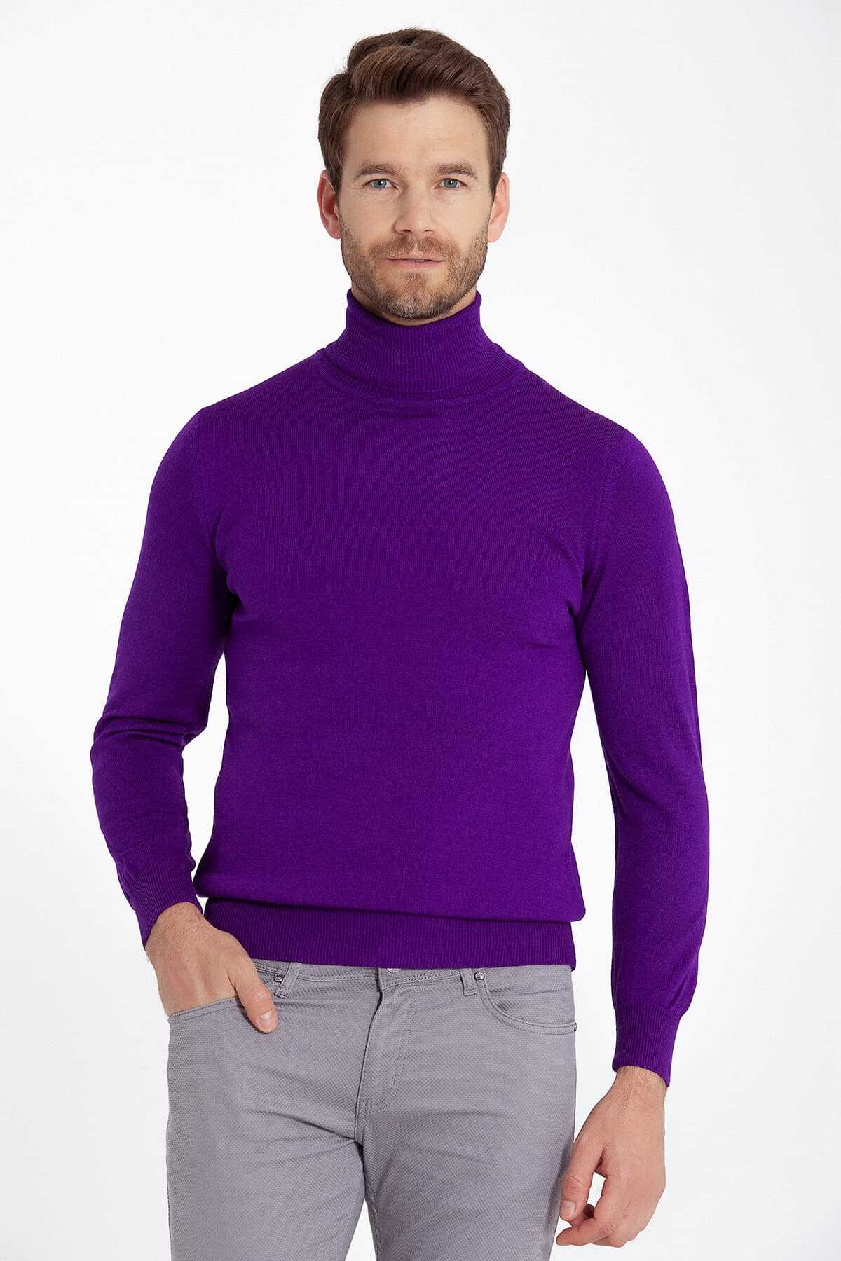 - Purple Regular Sweater