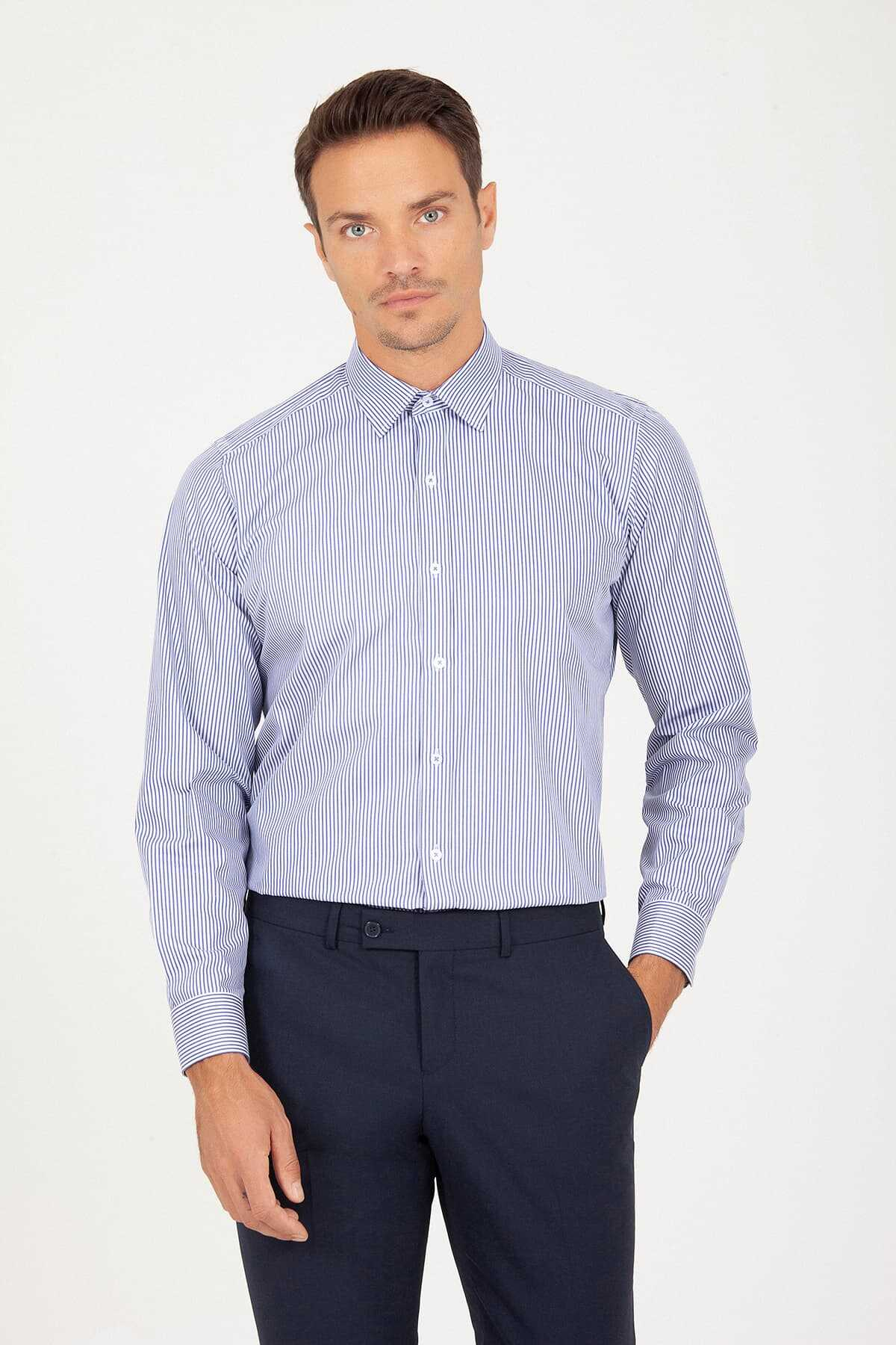 Hatemoğlu - Regular Fit Navy Striped Shirt