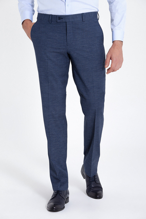 Regular Fit Plaid Navy Classic Pants - Thumbnail