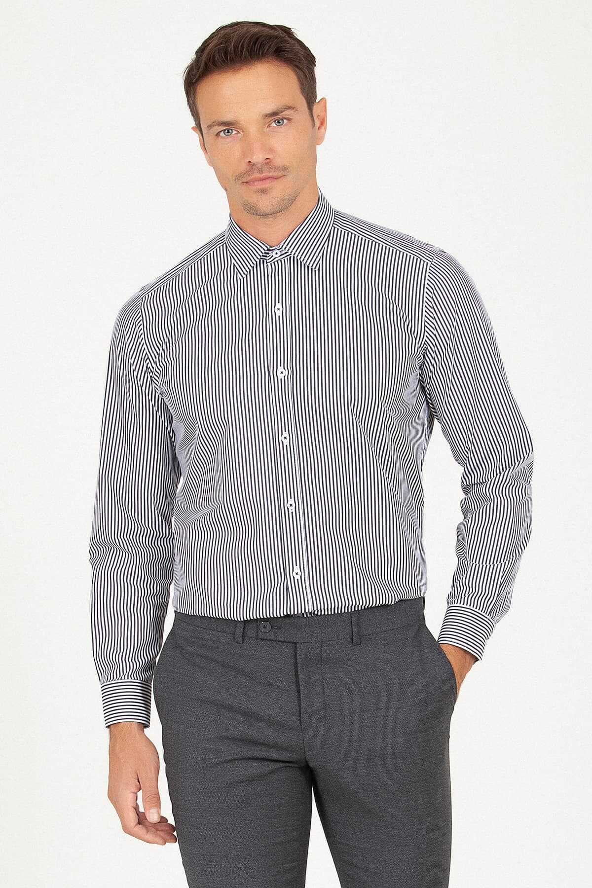 Hatemoğlu - Regular Fit Black Striped Shirt