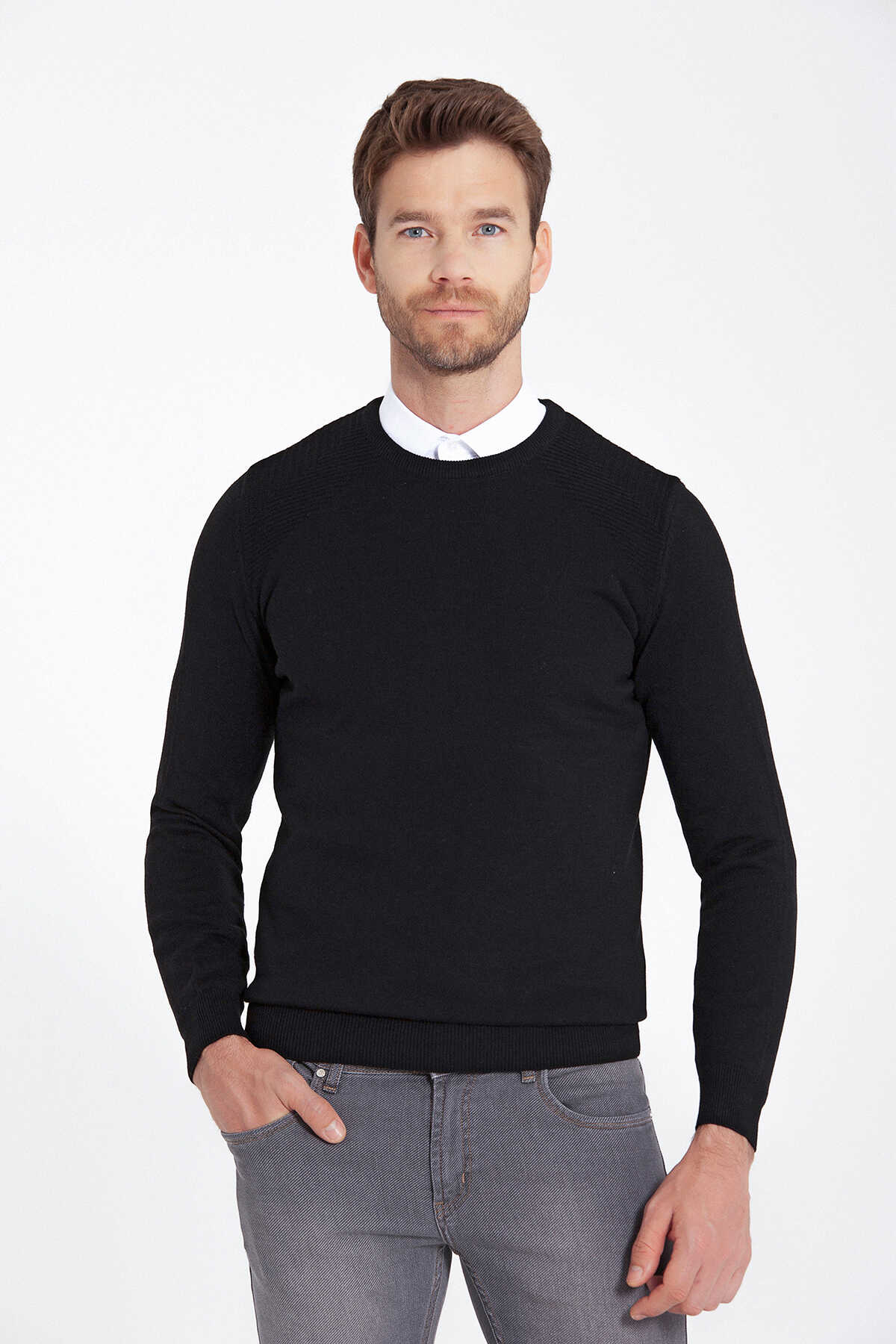 HATEMOĞLU - Black Crew Neck Sweater