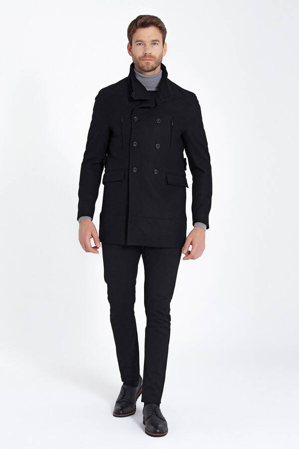 Black Buttoned Collar Wool Coat
