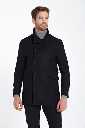 Black Buttoned Collar Wool Overcoat - Thumbnail