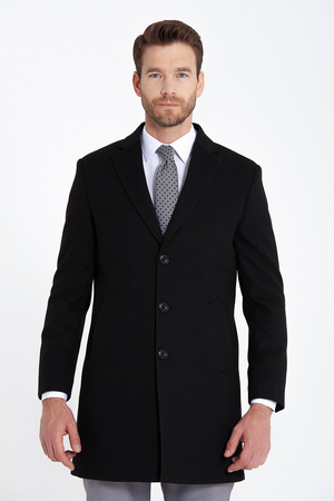 Black Peak Lapel Coat - Thumbnail