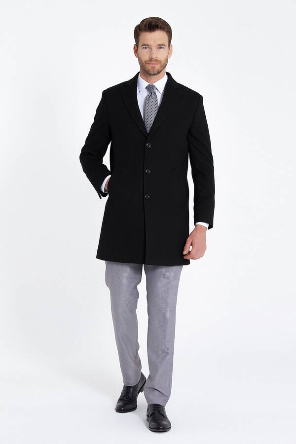 Black Peak Lapel Coat