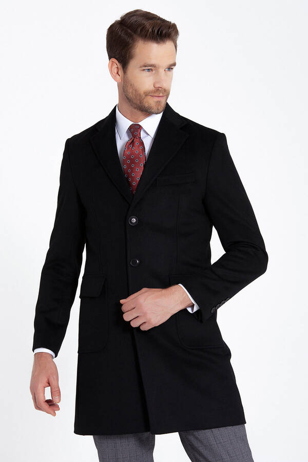 Black Peak Lapel Wool Overcoat