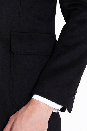 Black Peak Lapel Wool Overcoat - Thumbnail