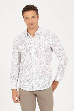 Slim Fit White Patterned Shirt