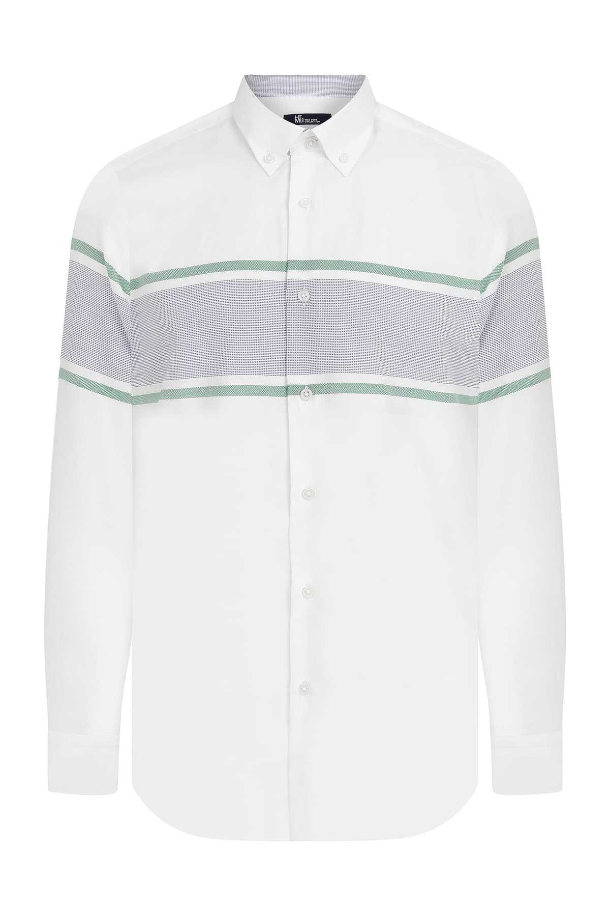 HTML - Slim Fit Striped White Shirt