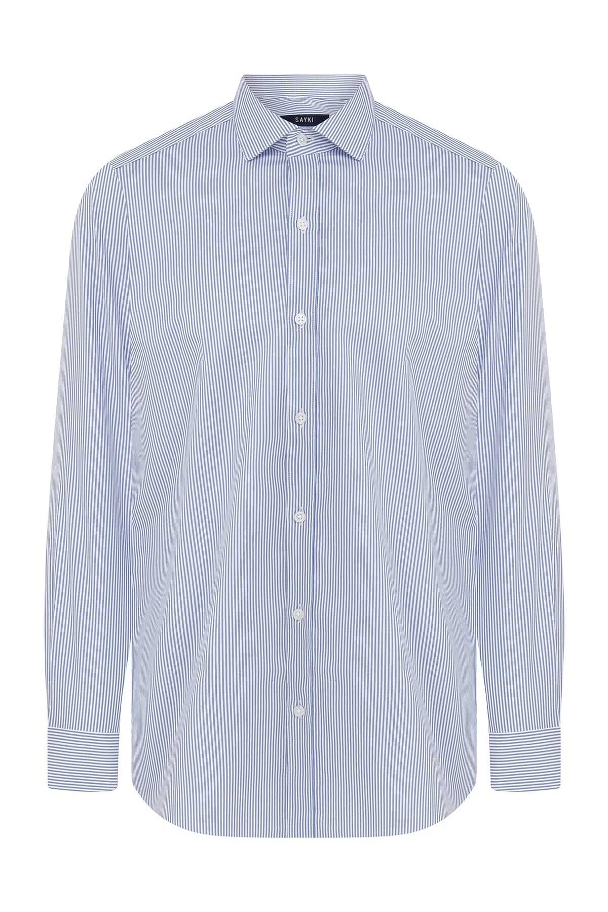 Hatem Saykı - Slim Fit Striped Blue Shirt