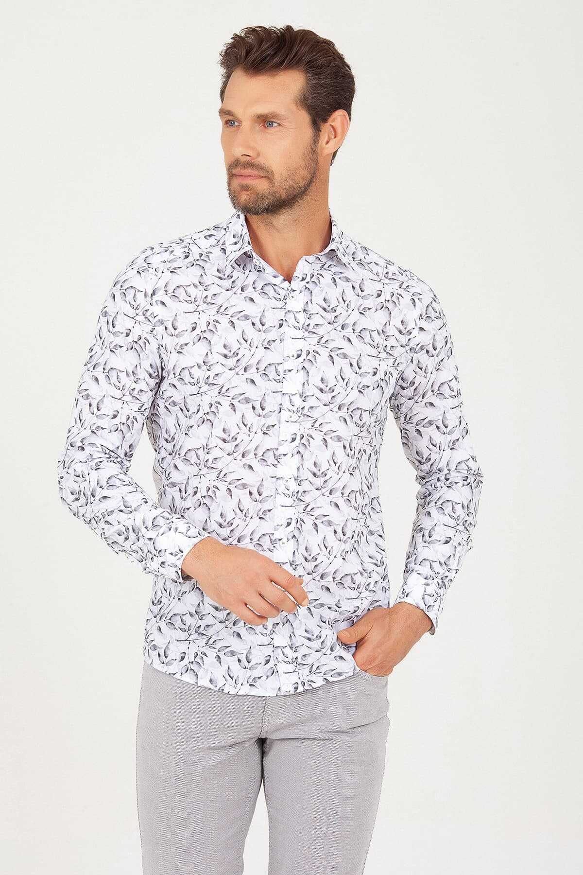 HTML - Slim Fit Grey Printed Shirt