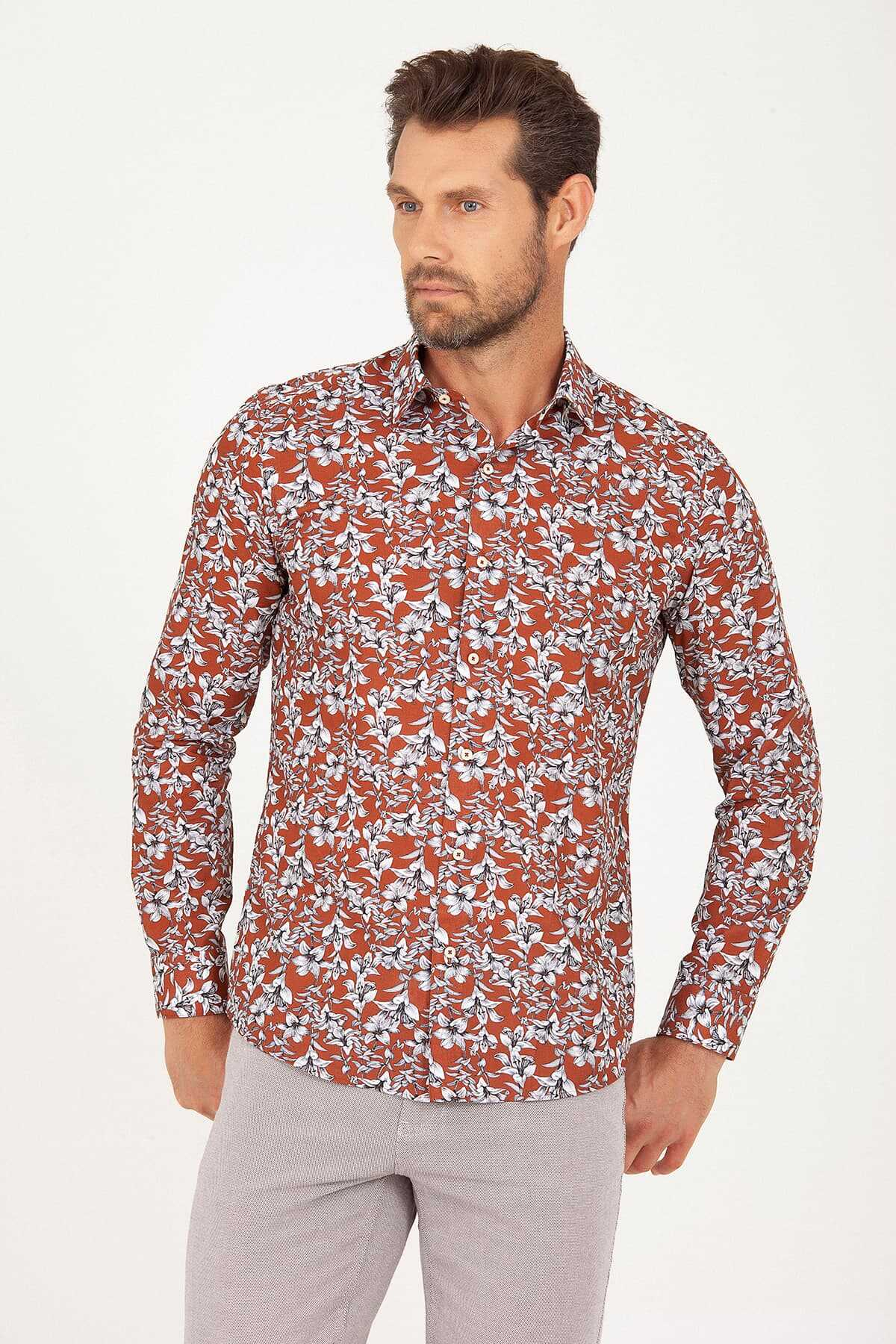 Hatem Saykı - Slim Fit Orange Printed Shirt