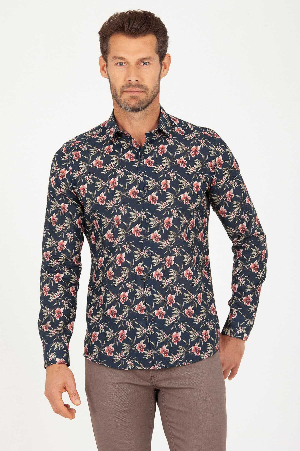 Hatem Saykı - Slim Fit Navy Printed Shirt