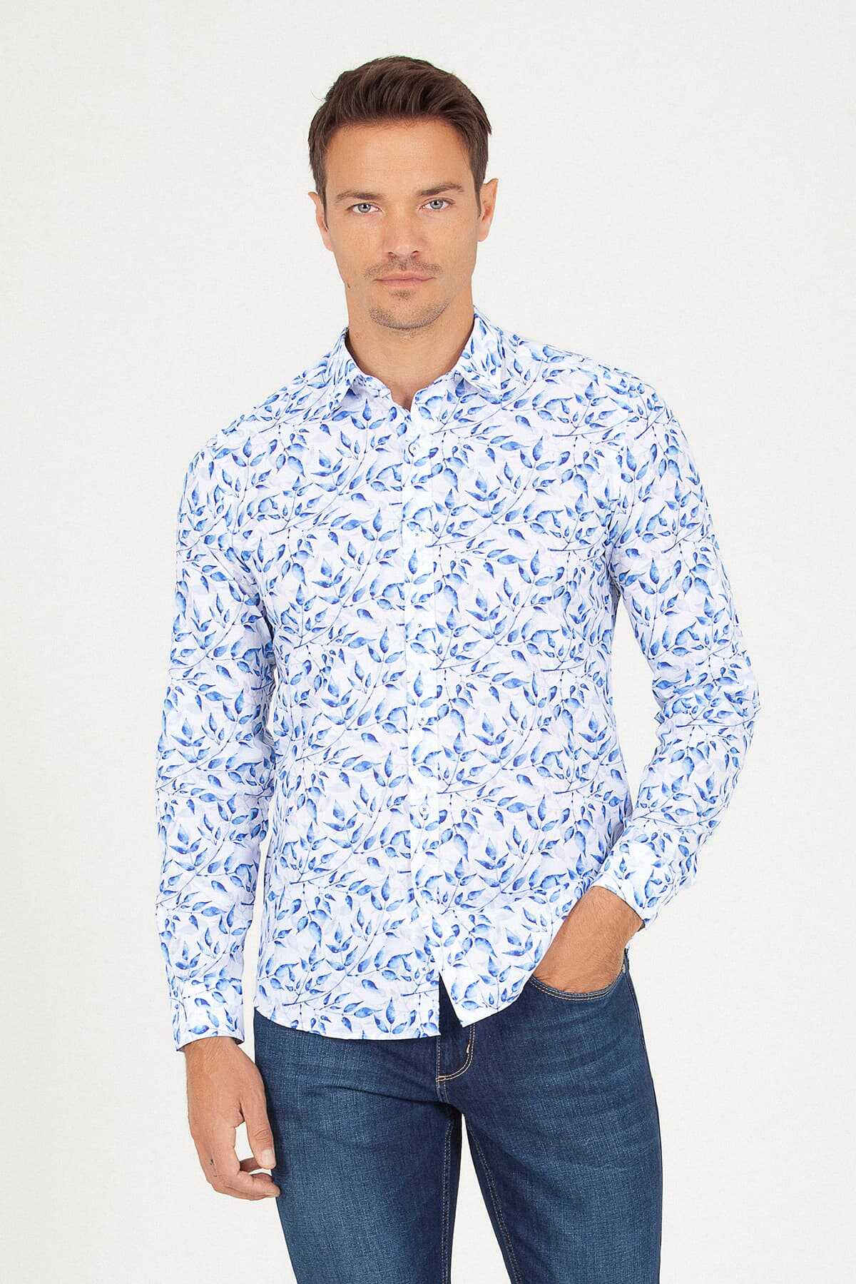 HTML - Slim Fit Blue Printed Shirt