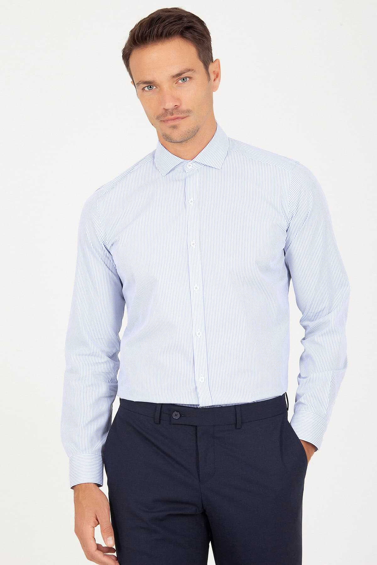 Hatem Saykı - Slim Fit Blue Striped Shirt