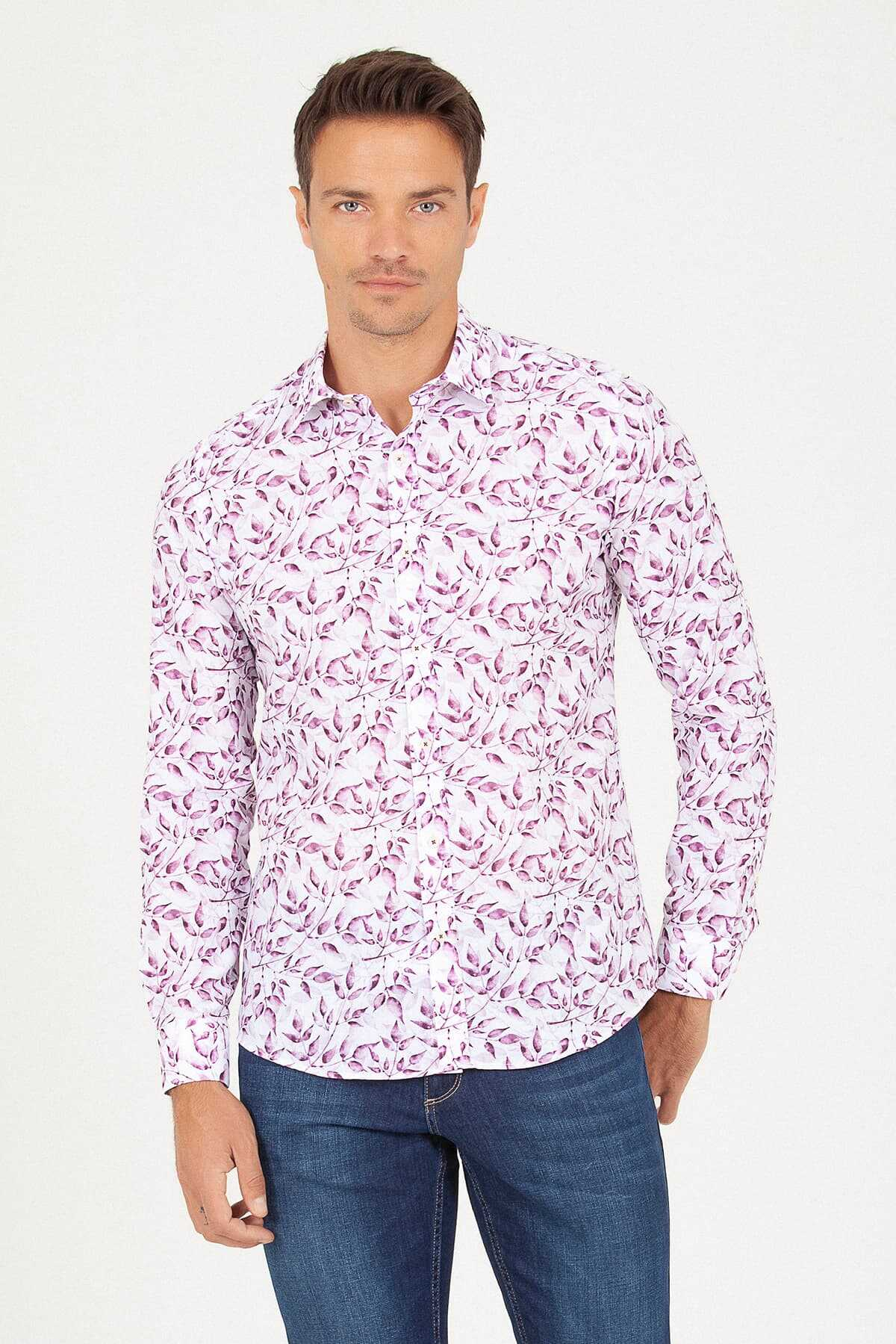 HTML - Slim Fit Damson Printed Shirt