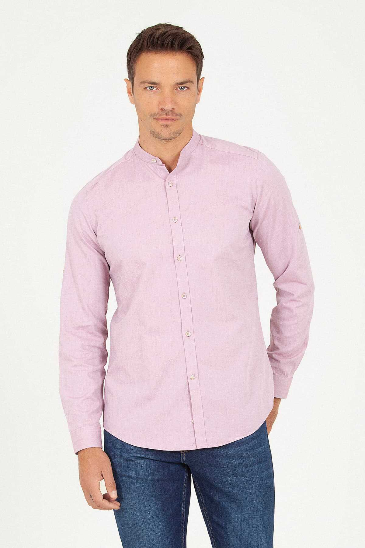 HTML - Slim Fit Pink Shirt