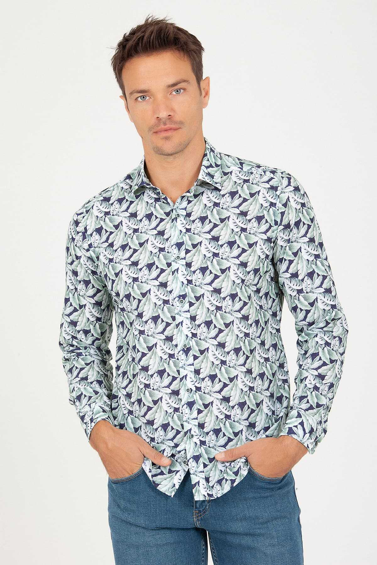 Hatem Saykı - Slim Fit Green Printed Shirt