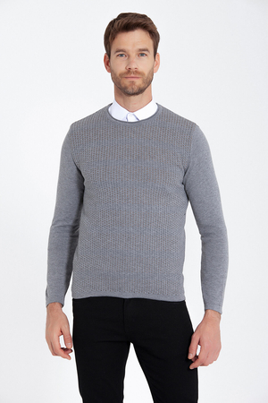 HTML - Ginger Patterned Crew Neck Grey Sweater