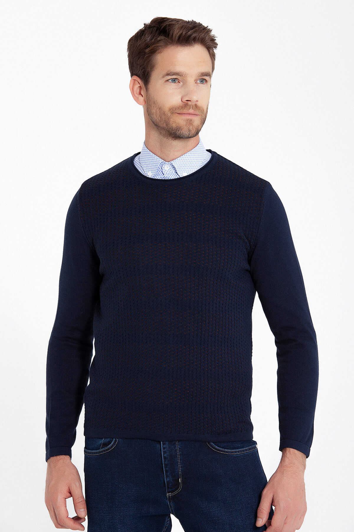 HTML - Ginger Patterned Crew Neck Navy Sweater