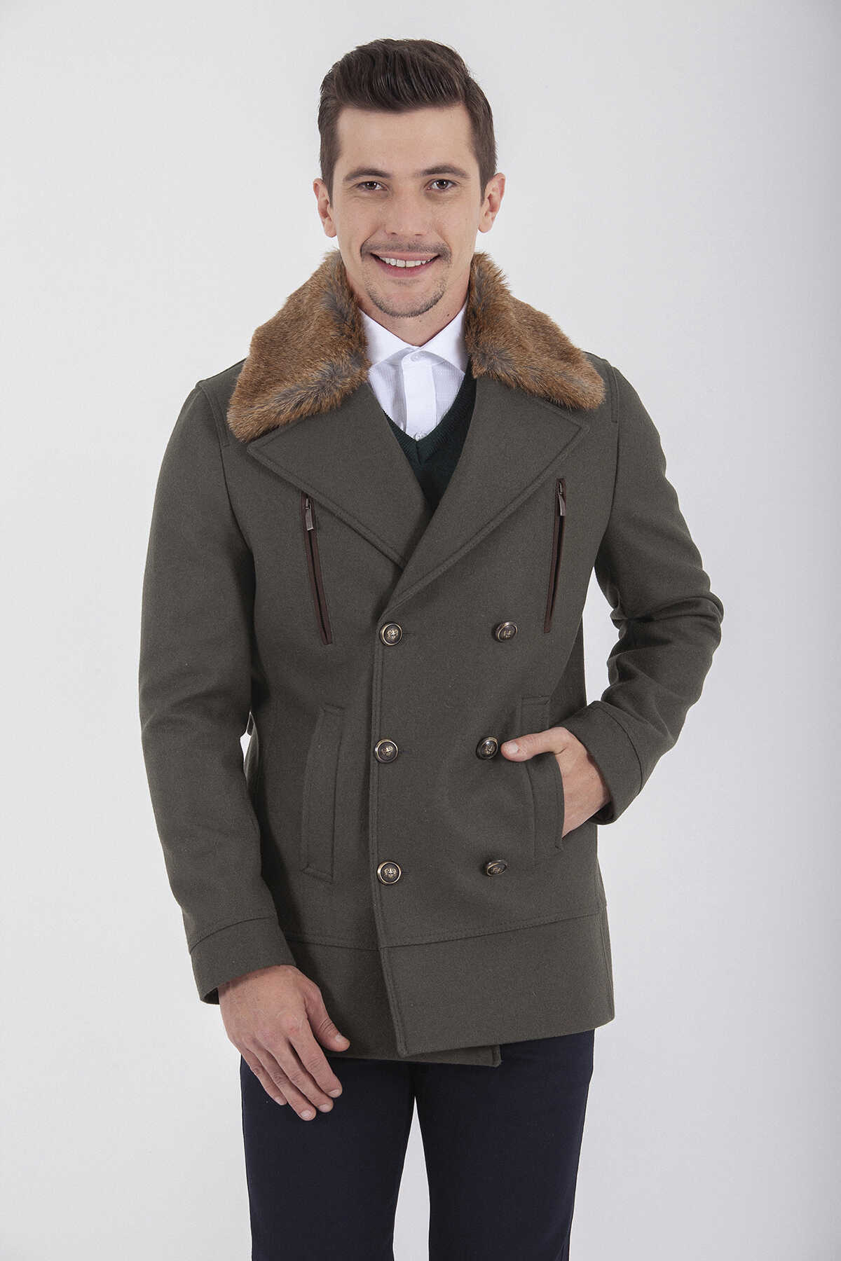 Hatem Saykı - Fur Collar Wool Khaki Coat