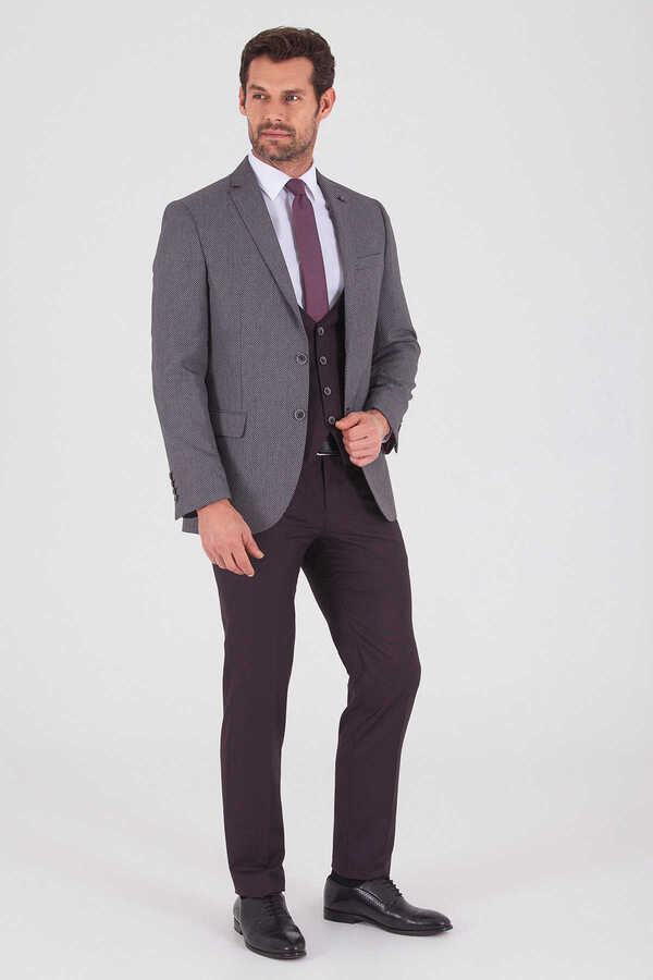 Hatemoğlu - Vested Slim Fit Burgundy Suit