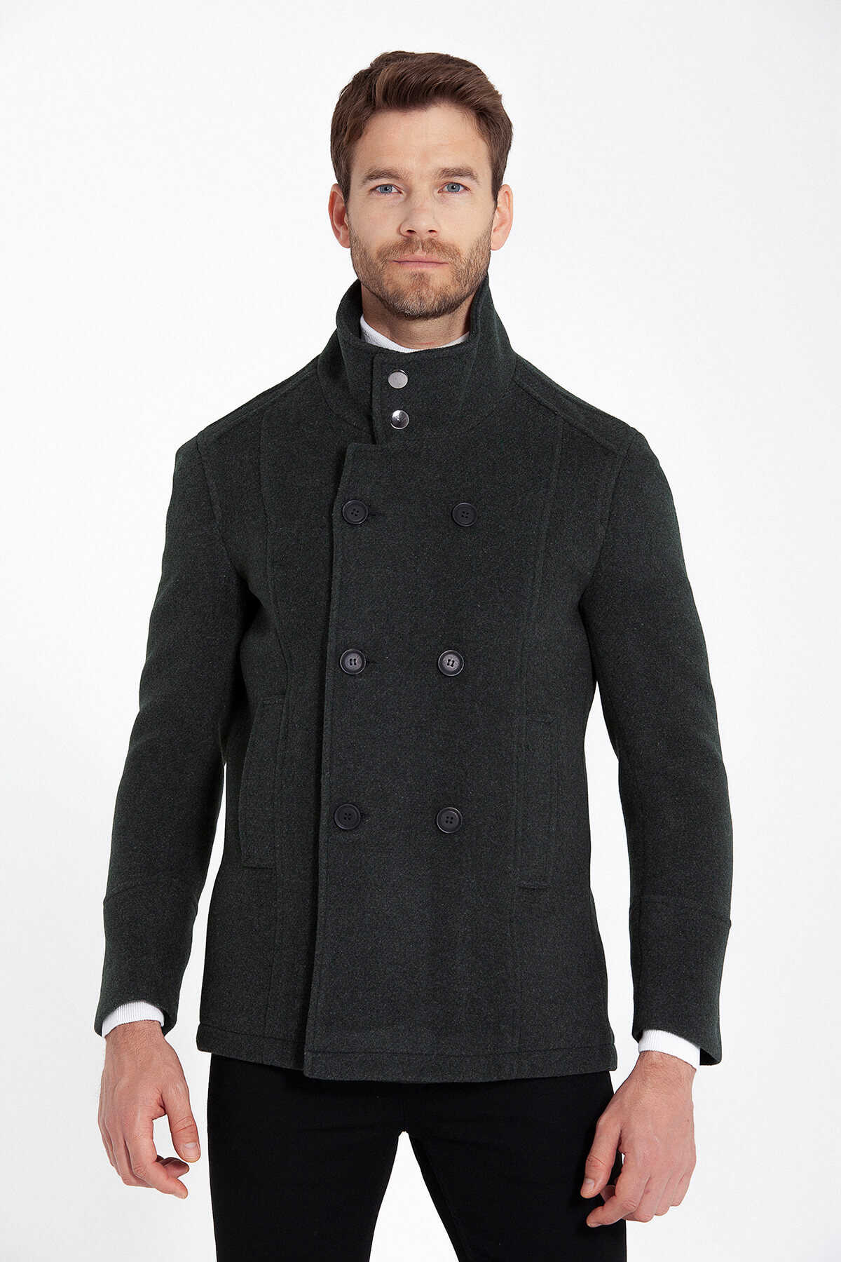 HATEM SAYKI - Green Buttoned Collar Wool Coat