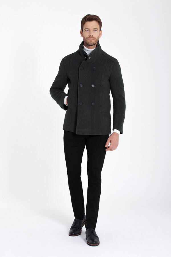 Khaki Double Breasted Wool Blended Coat