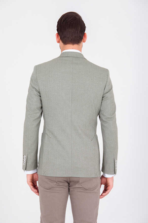 Green Herringbone Slim Fit Blazer - Thumbnail