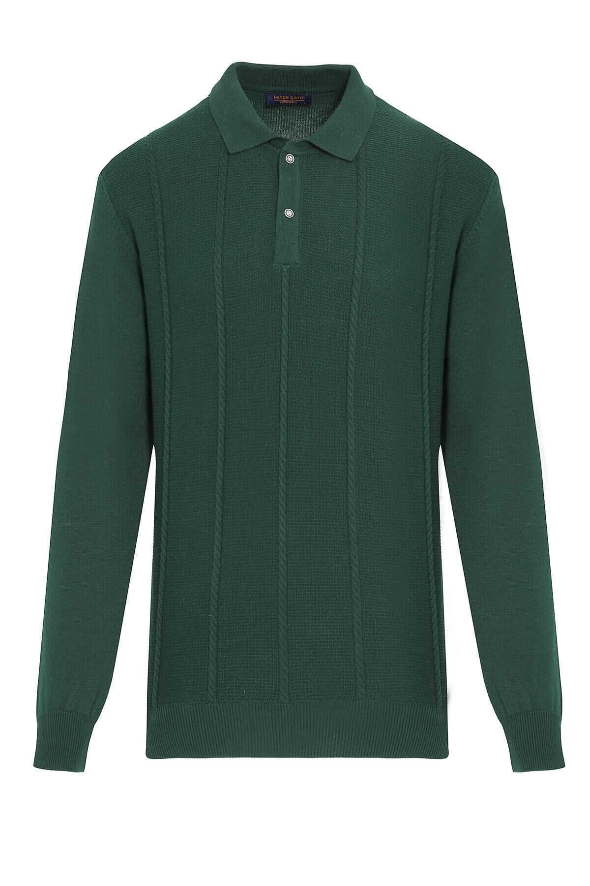 - Green Polo Neck Buttoned Sweater