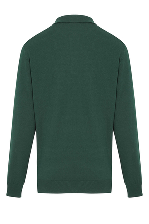 Green Polo Neck Buttoned Sweater - Thumbnail